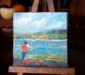 Fishing at the lake10 3 x 3 oil