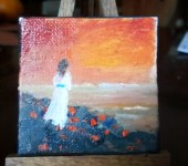 Girl at Sunset 2 3 x 3 oil